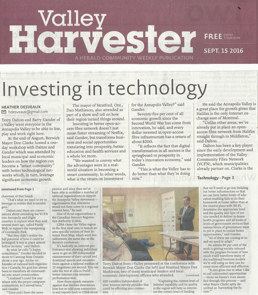 Investing in Technology article from Valley Harvester, Sep 15 2016